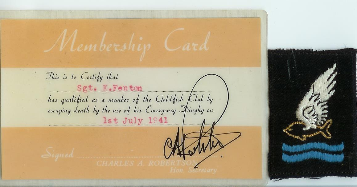 The Goldfish Club Membership Card and Badge